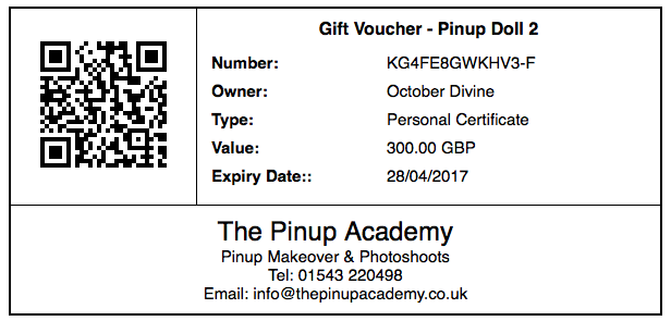 pinup makeover & photoshoot gift voucher