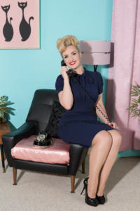 pin up vintage lady on the phone in the living room