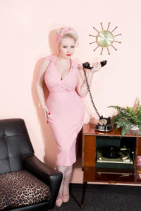 October Divine Pinup in pink set wearing stop staring dress